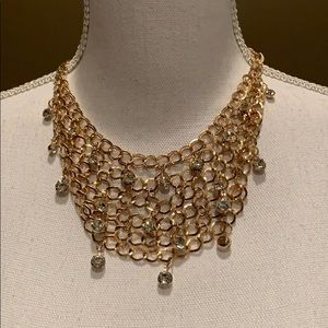 Gold Layered Necklace with Gold Earrings